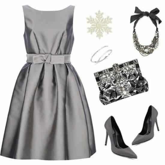 Торжественное серое платье аксессуары