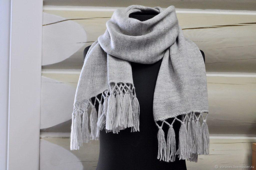бахрому на шарфе из пряжи